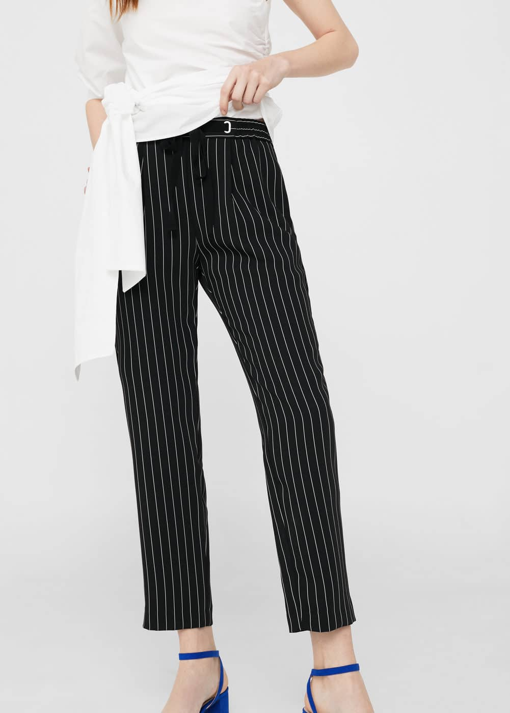Satin striped trousers | MANGO