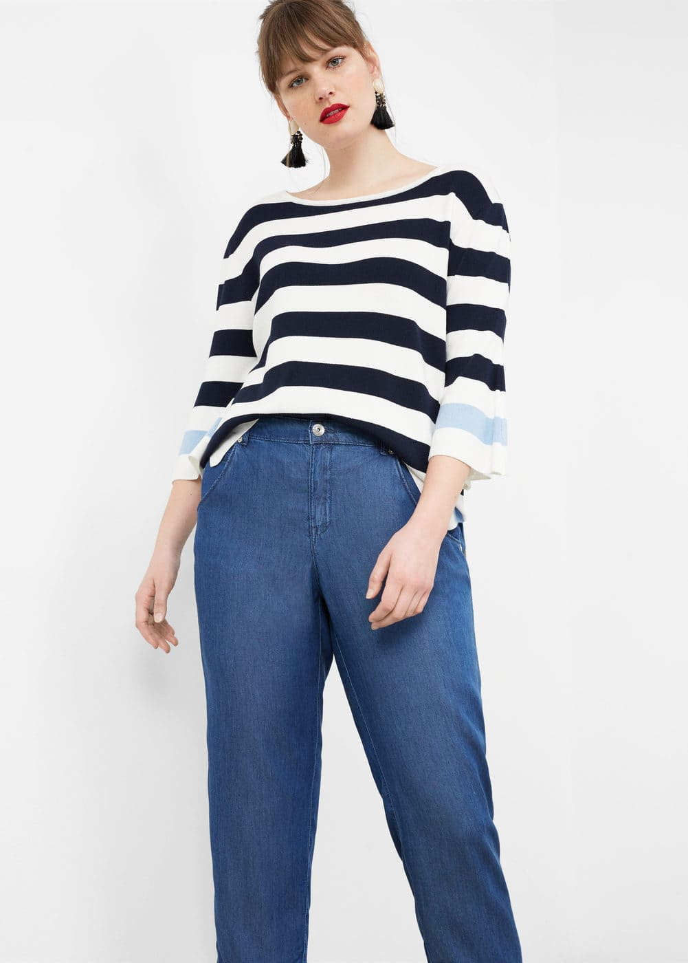 Ruffled soft jeans | VIOLETA BY MANGO