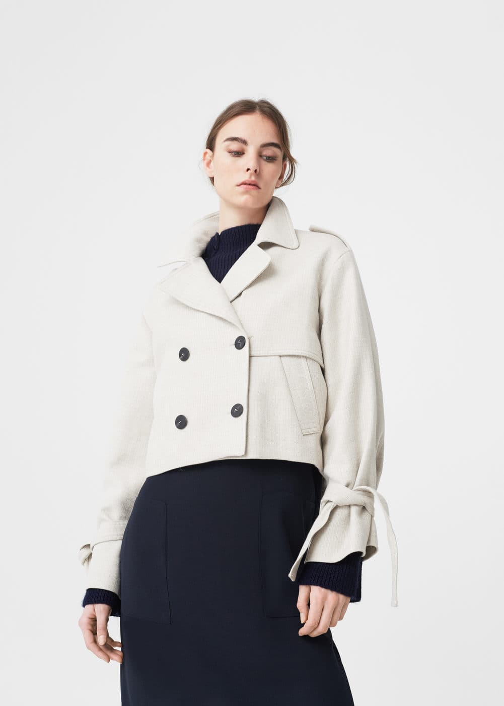 Mango Cropped Trench Jacket