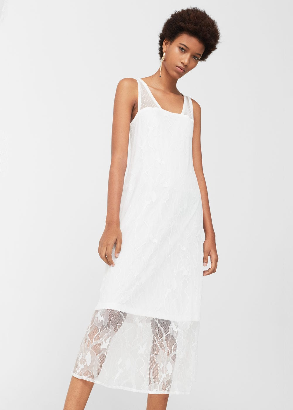 Blond-lace panel dress | MANGO