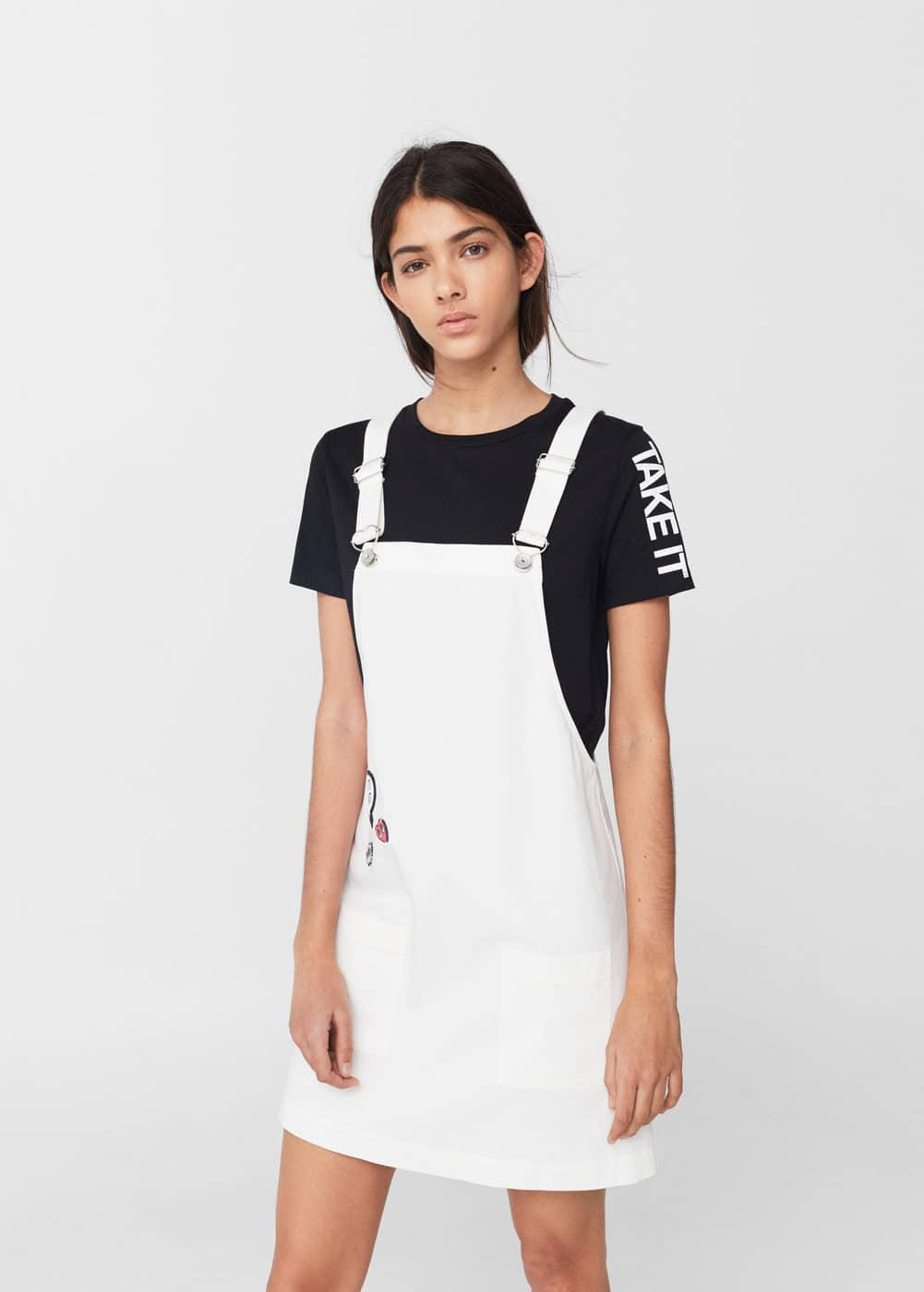 White denim dungarees | MANGO