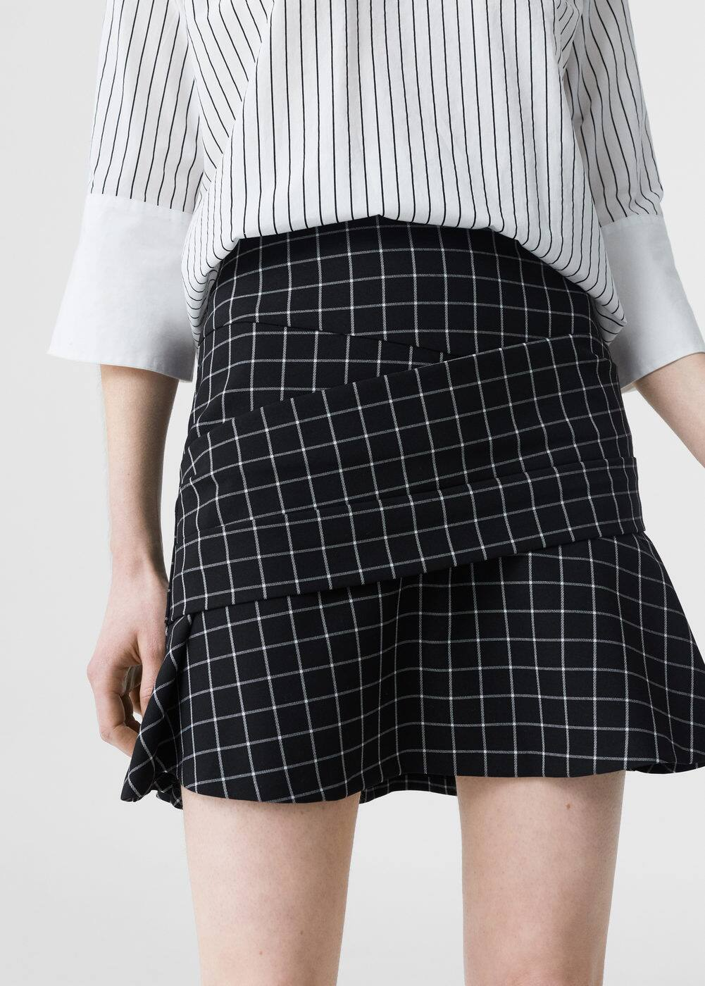 Check flared skirt | MANGO