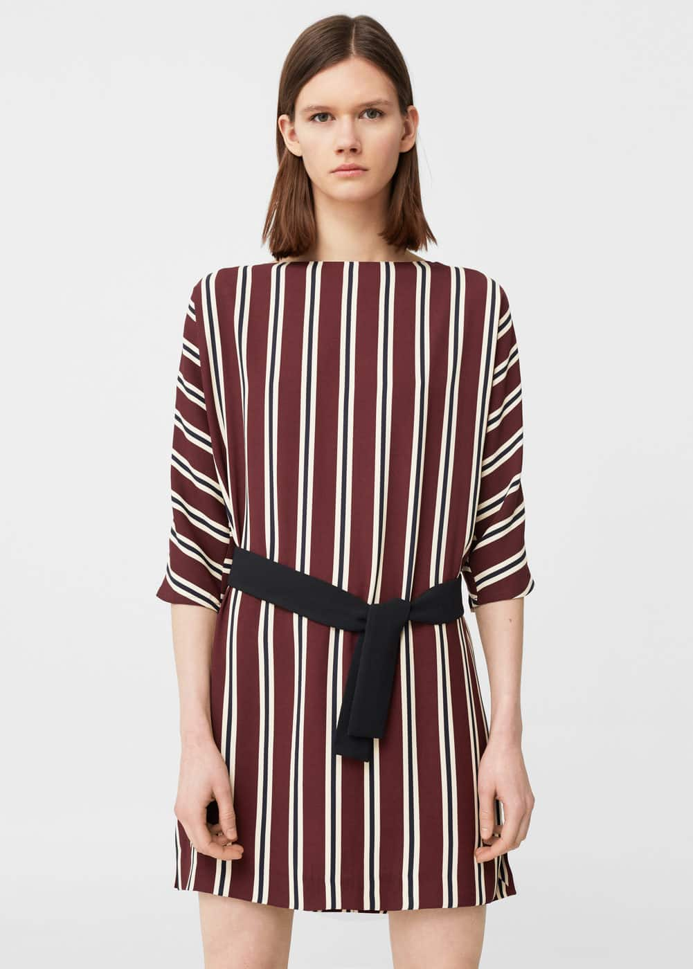 Belt striped dress | MANGO