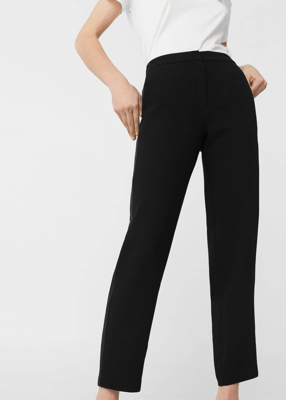 Contrast trim trousers | MANGO