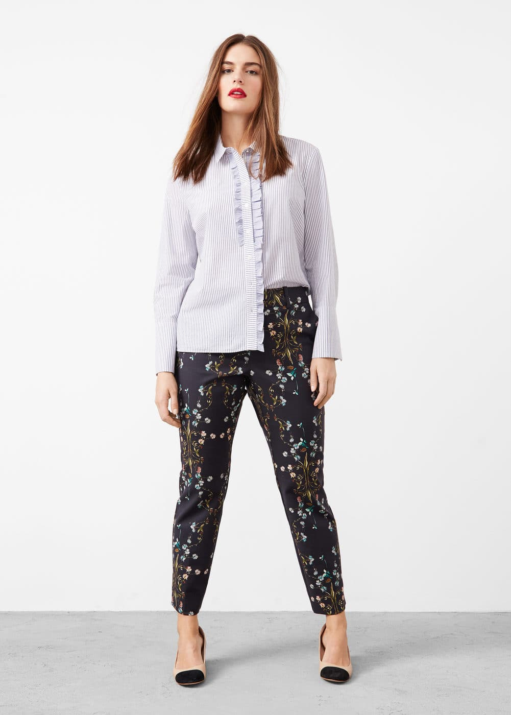 Straight floral trousers | MANGO