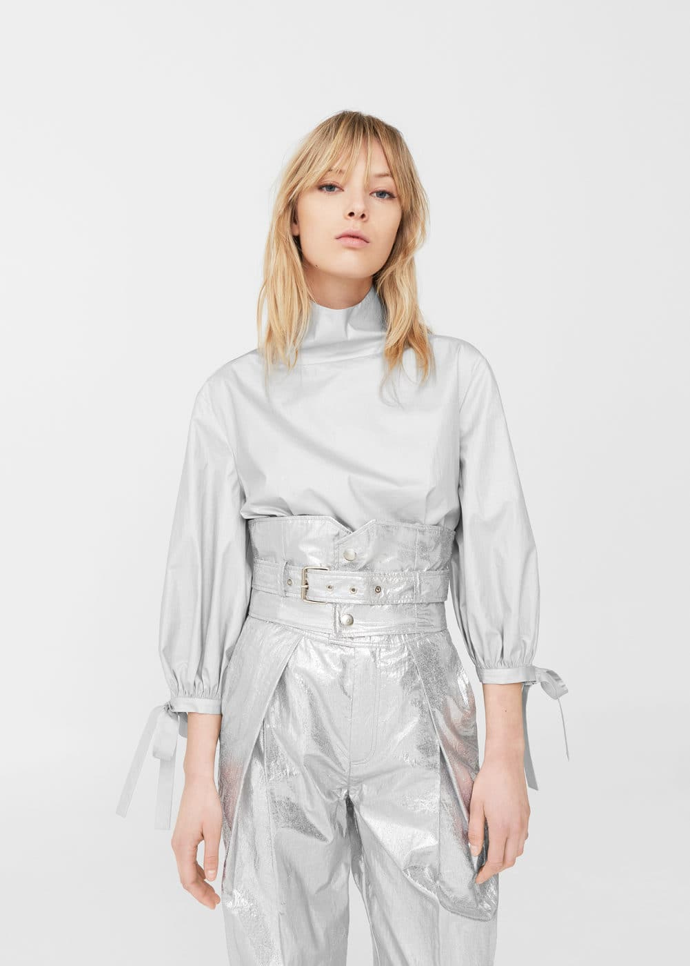 Bow metallic blouse | MANGO