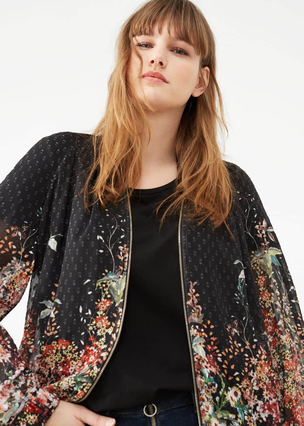 Sheer printed jacket | VIOLETA BY MANGO