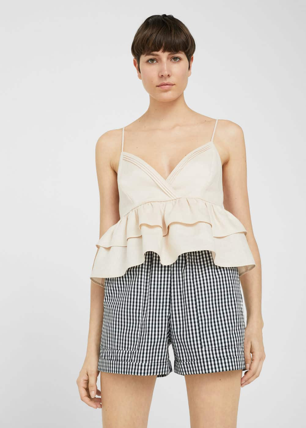 Ruffled linen top | MANGO