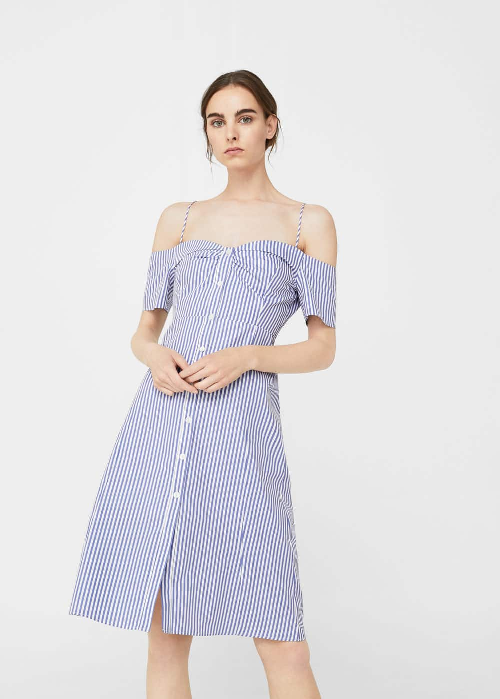 Off-shoulder striped dress | MANGO