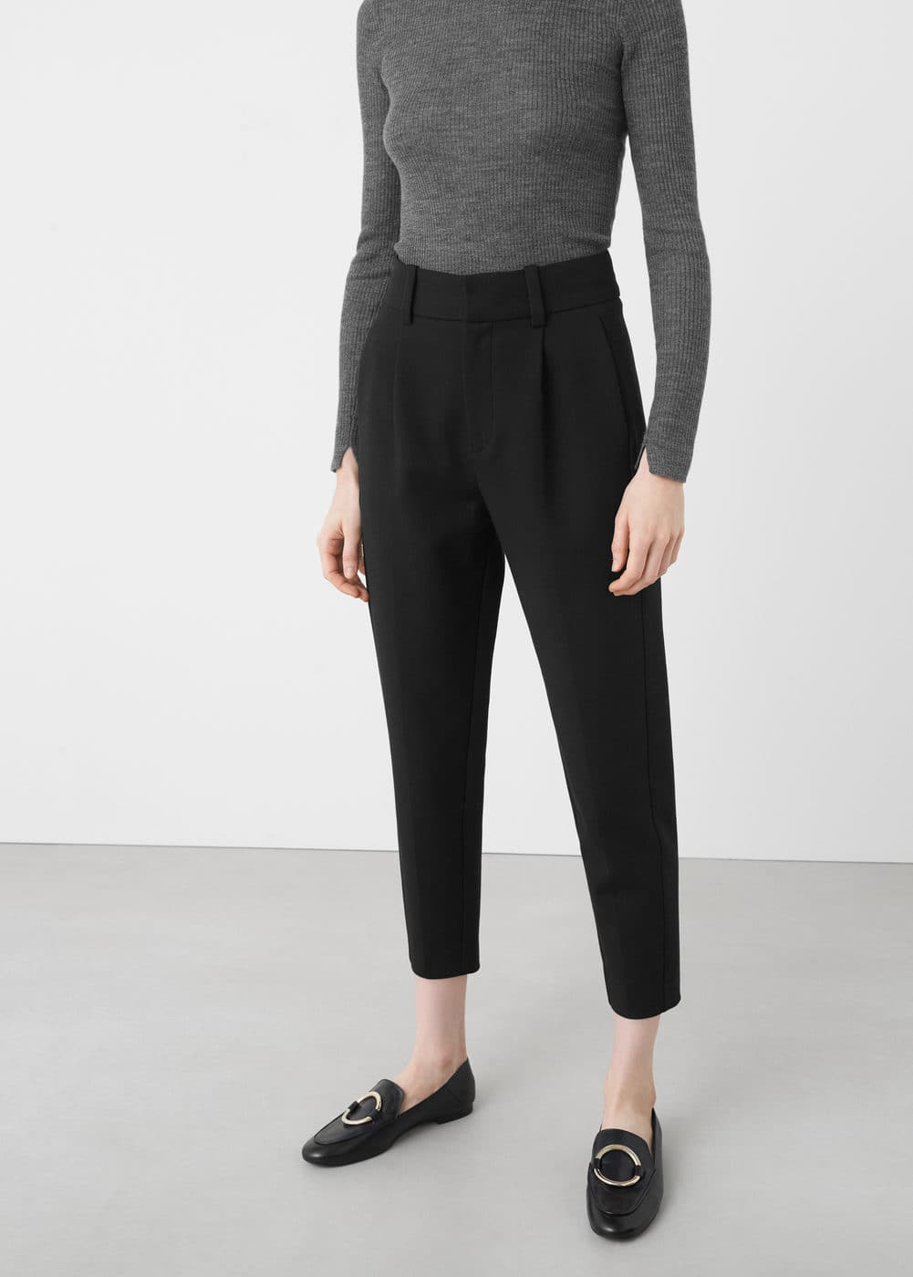 High-waist cotton trousers | MANGO