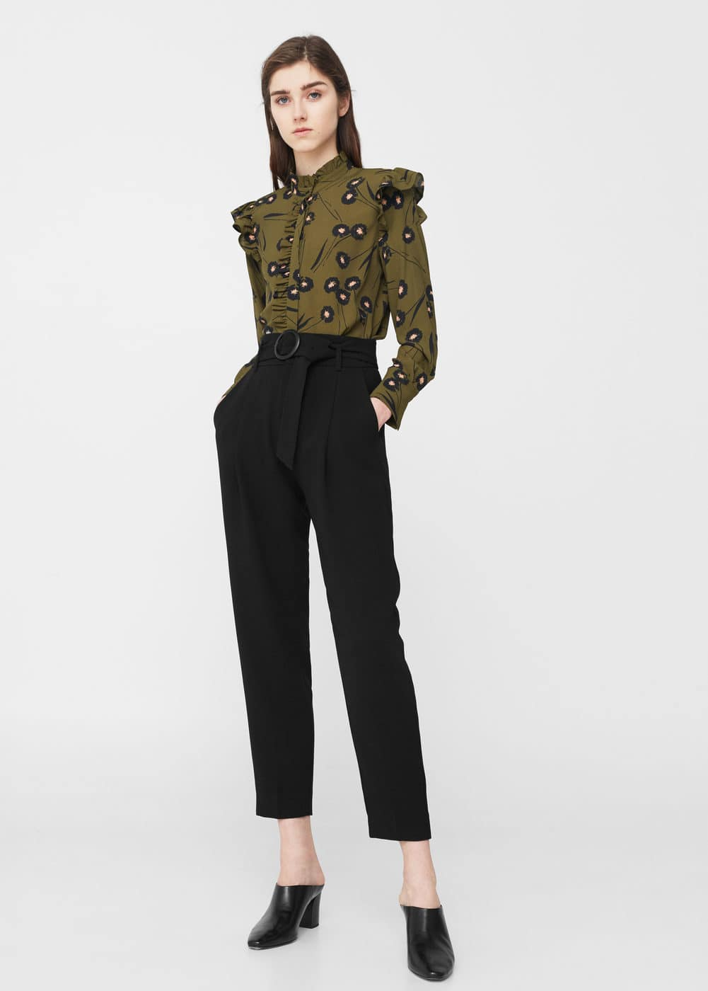 Belted crepe trousers | MANGO