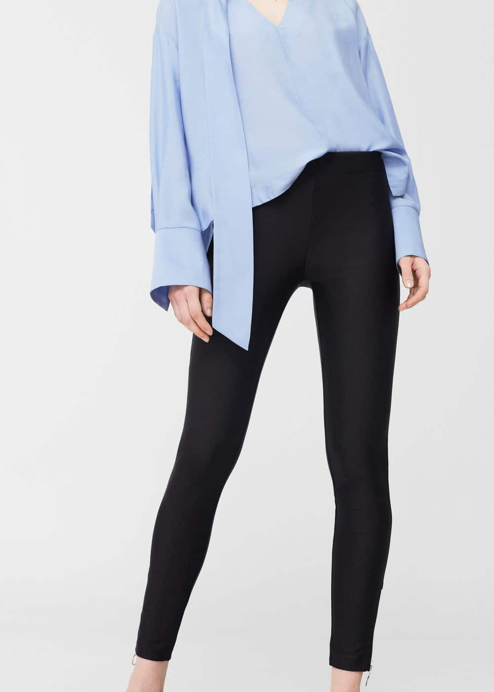 Glossed-effect leggings | MANGO