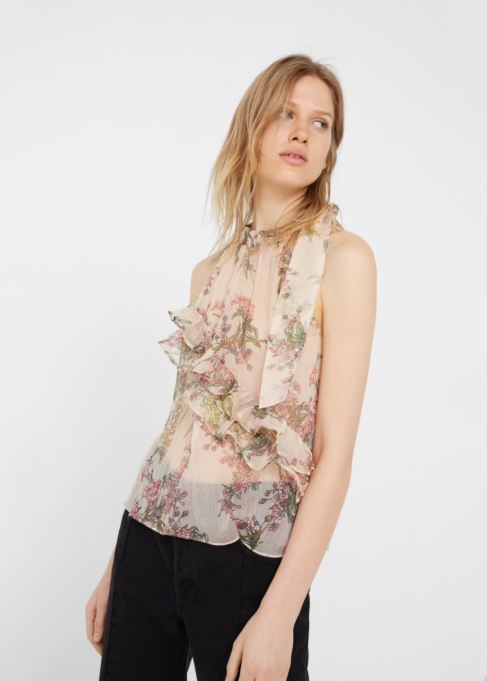 Ruffle printed top | MANGO