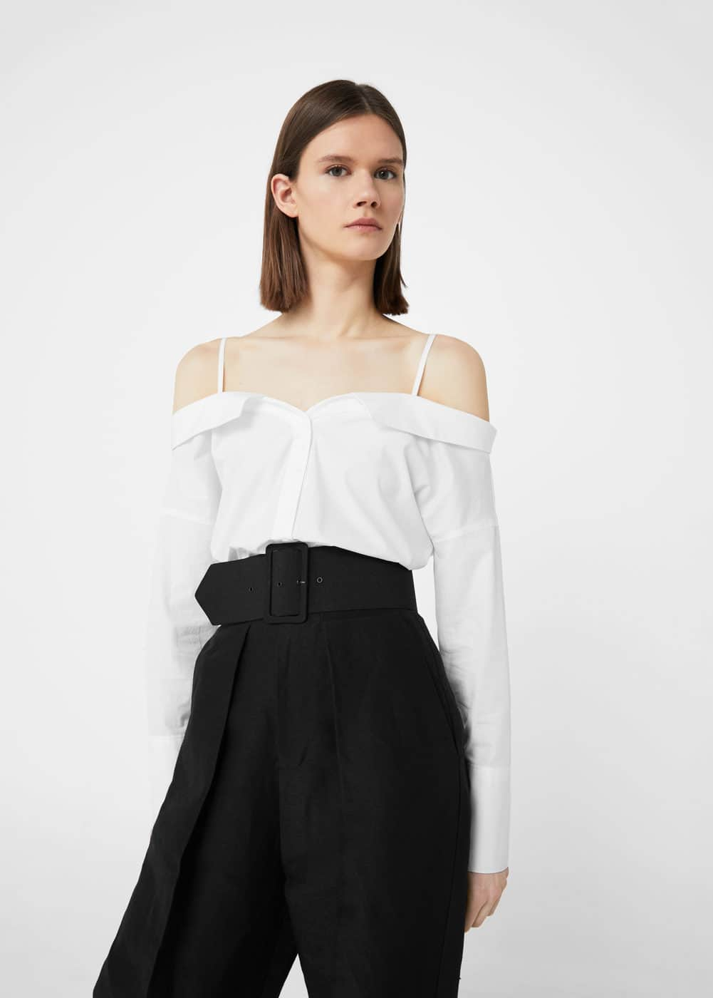 Off-shouldern cotton blouse | MANGO