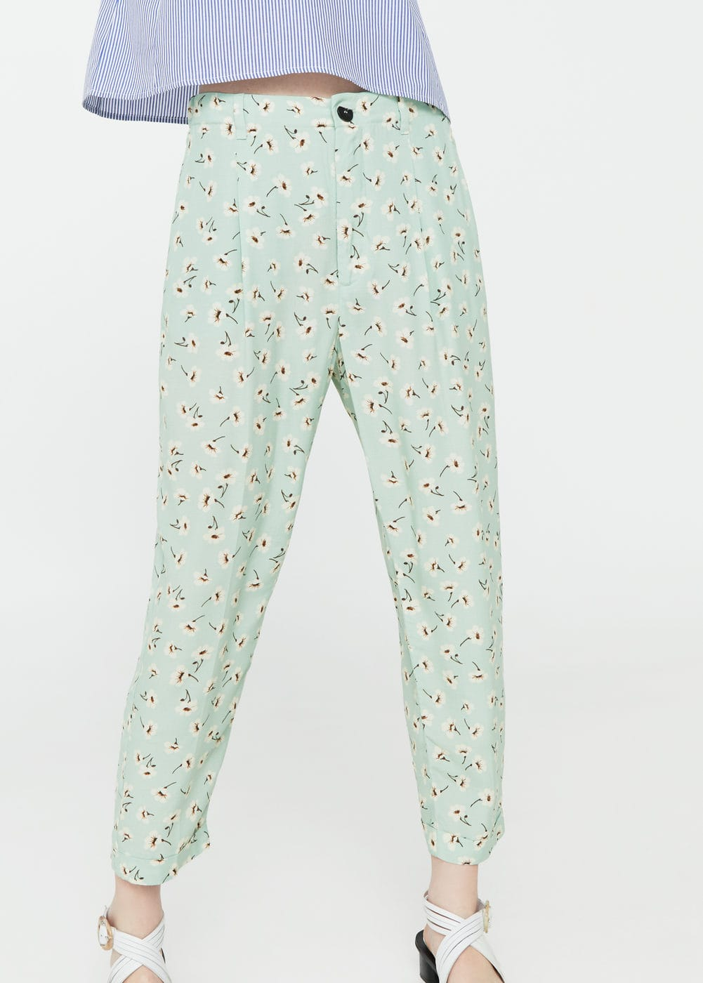 Flowy floral trousers | MANGO