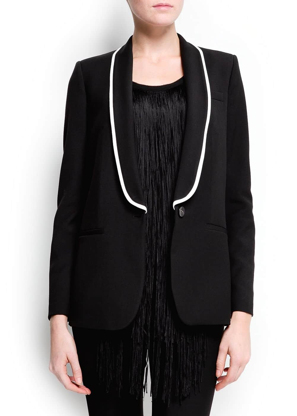 Contrast piping blazer | MANGO