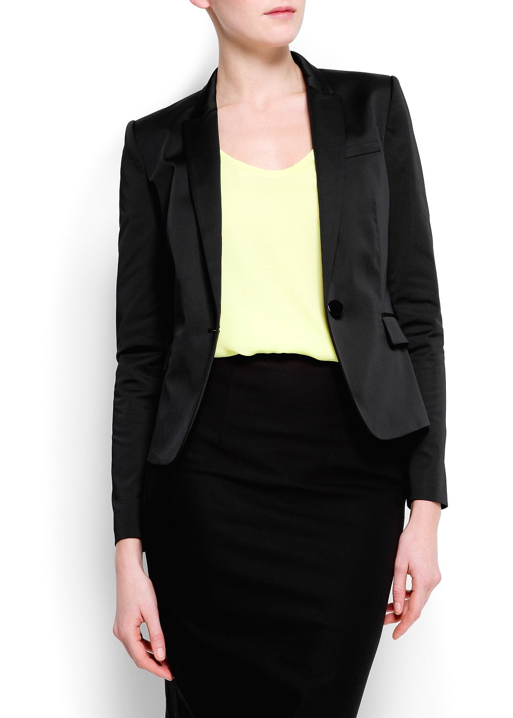 Satin tailored blazer | MANGO