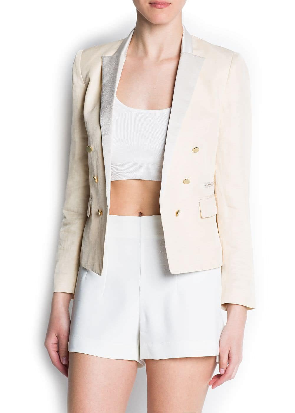 Satin lapels double-breasted blazer | MANGO