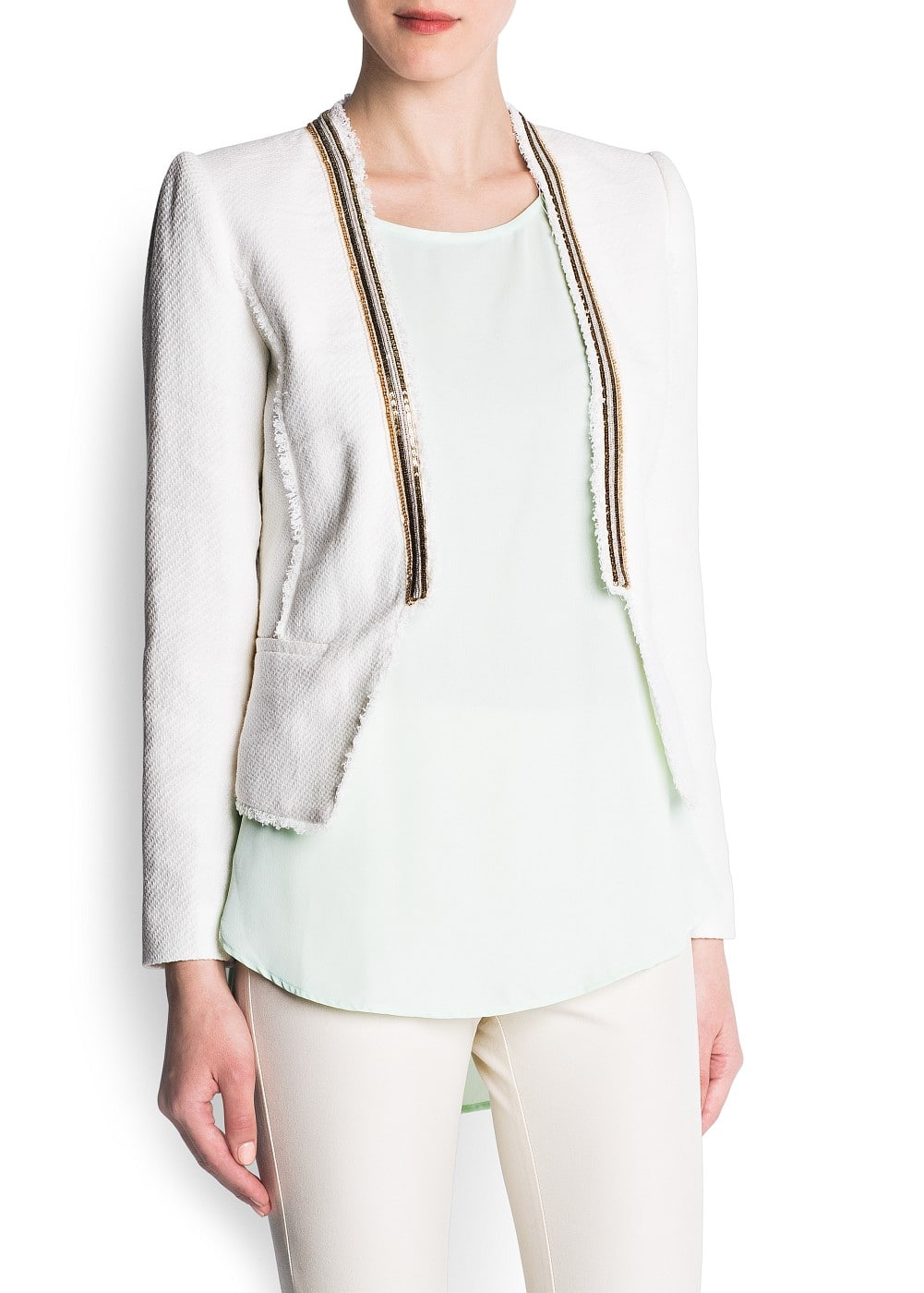 Metallic trimming cropped jacket | MANGO