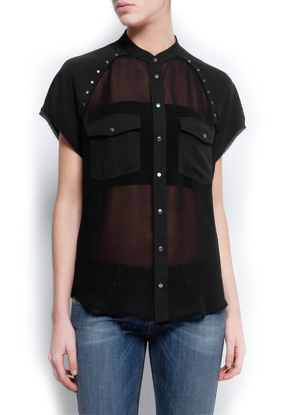 Studded sheer shirt | MANGO