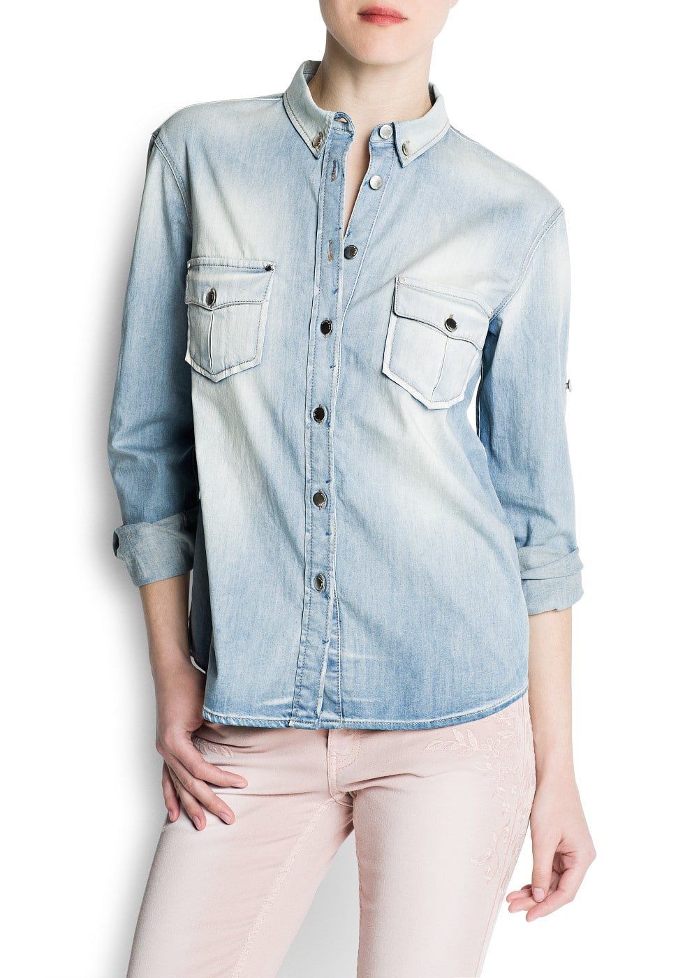 Washed effect denim shirt | MANGO