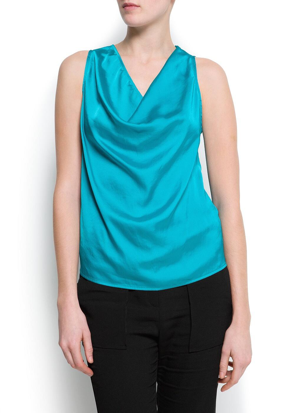 Draped satin top | MANGO