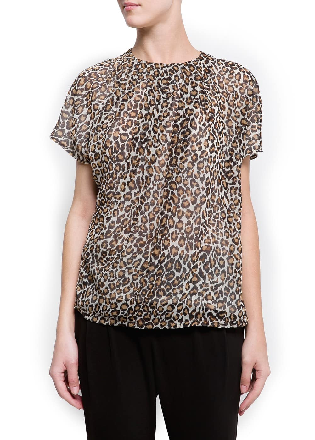 Animal print pleated t-shirt | MANGO