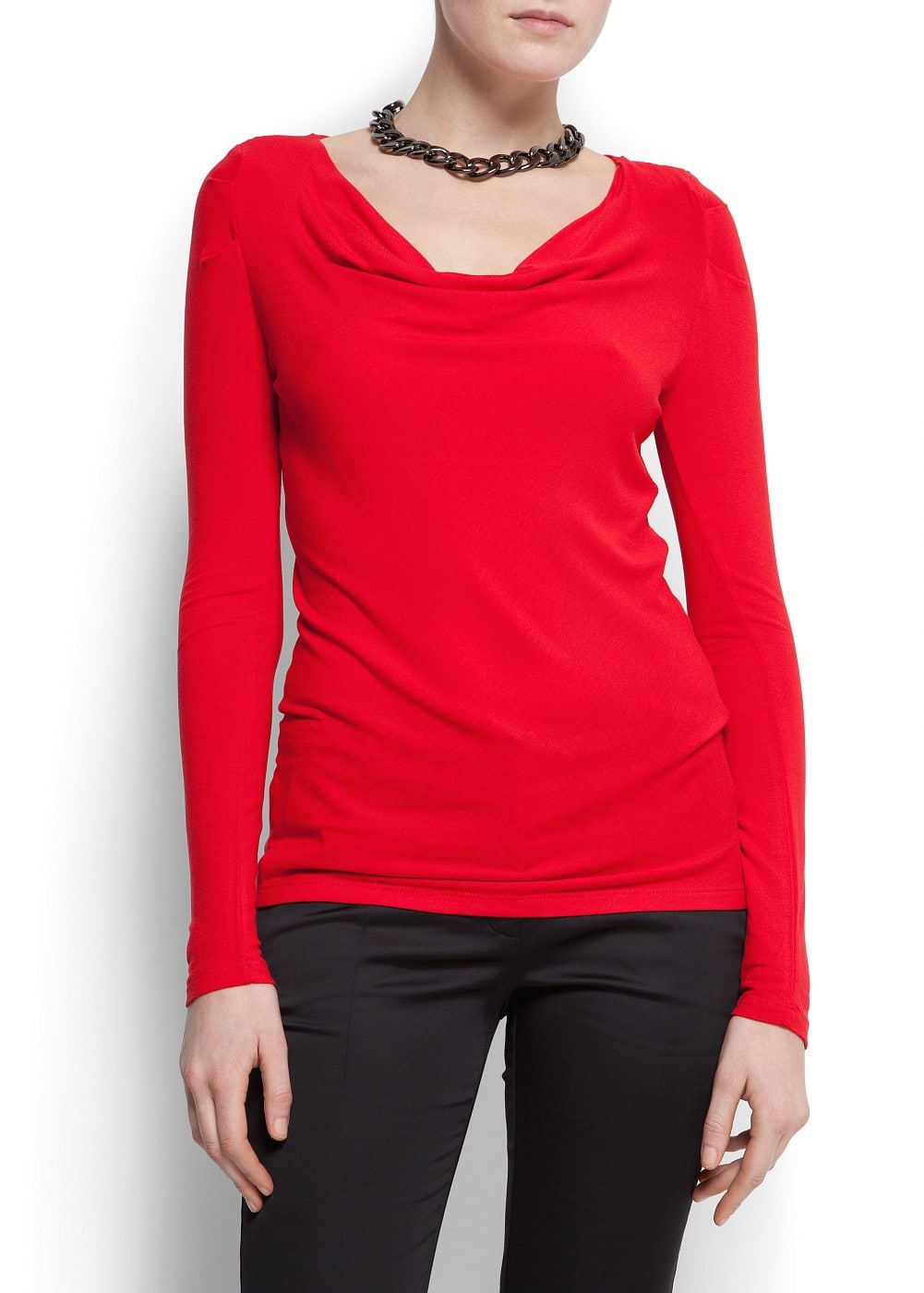 Draped knit t-shirt | MANGO