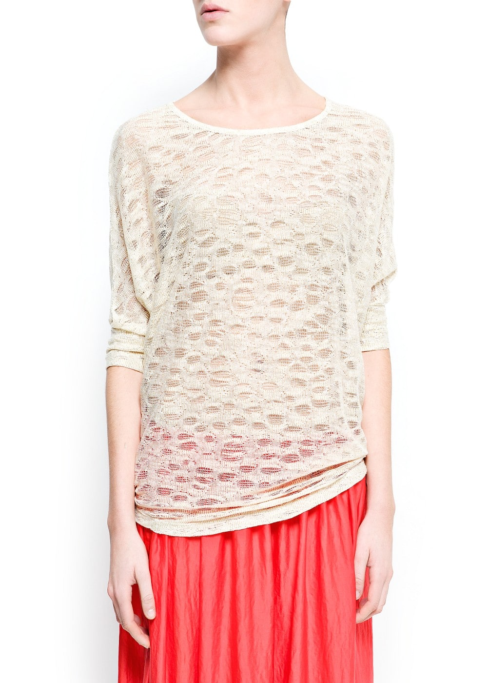 See-through metallic t-shirt | MANGO