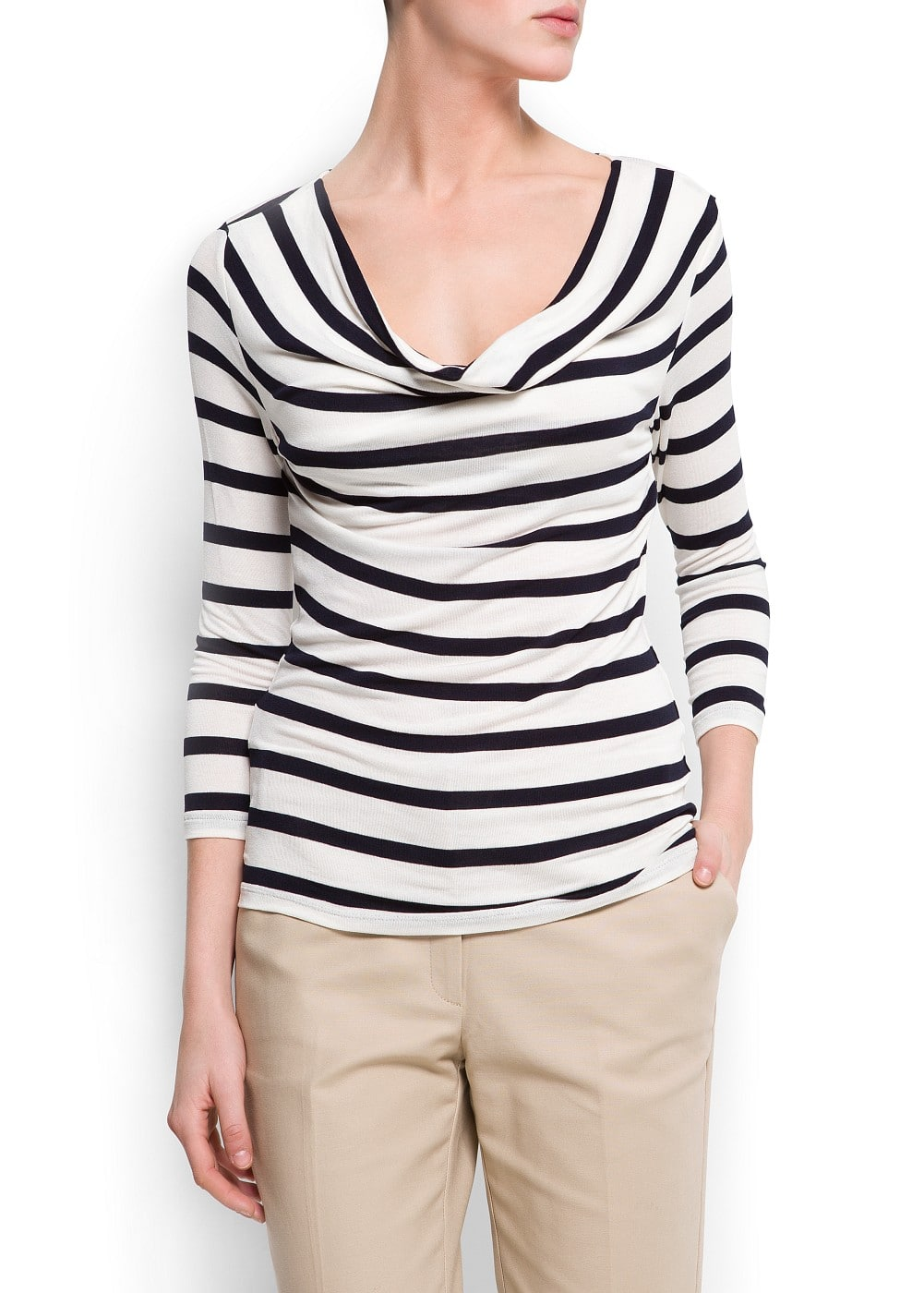 Draped striped t-shirt | MANGO