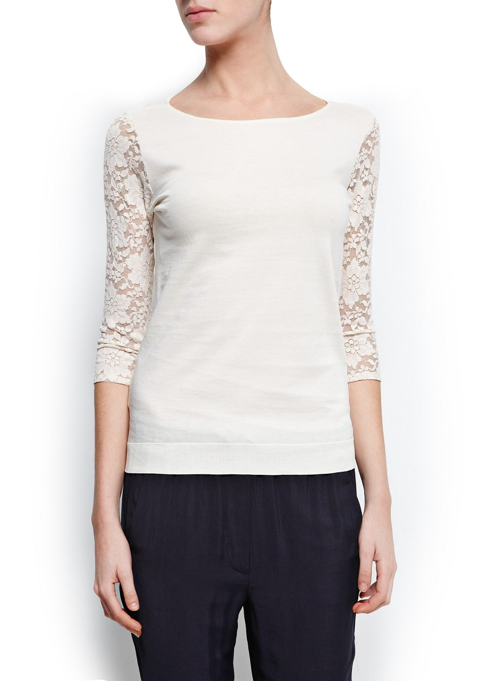 Lace sleeves t-shirt | MANGO