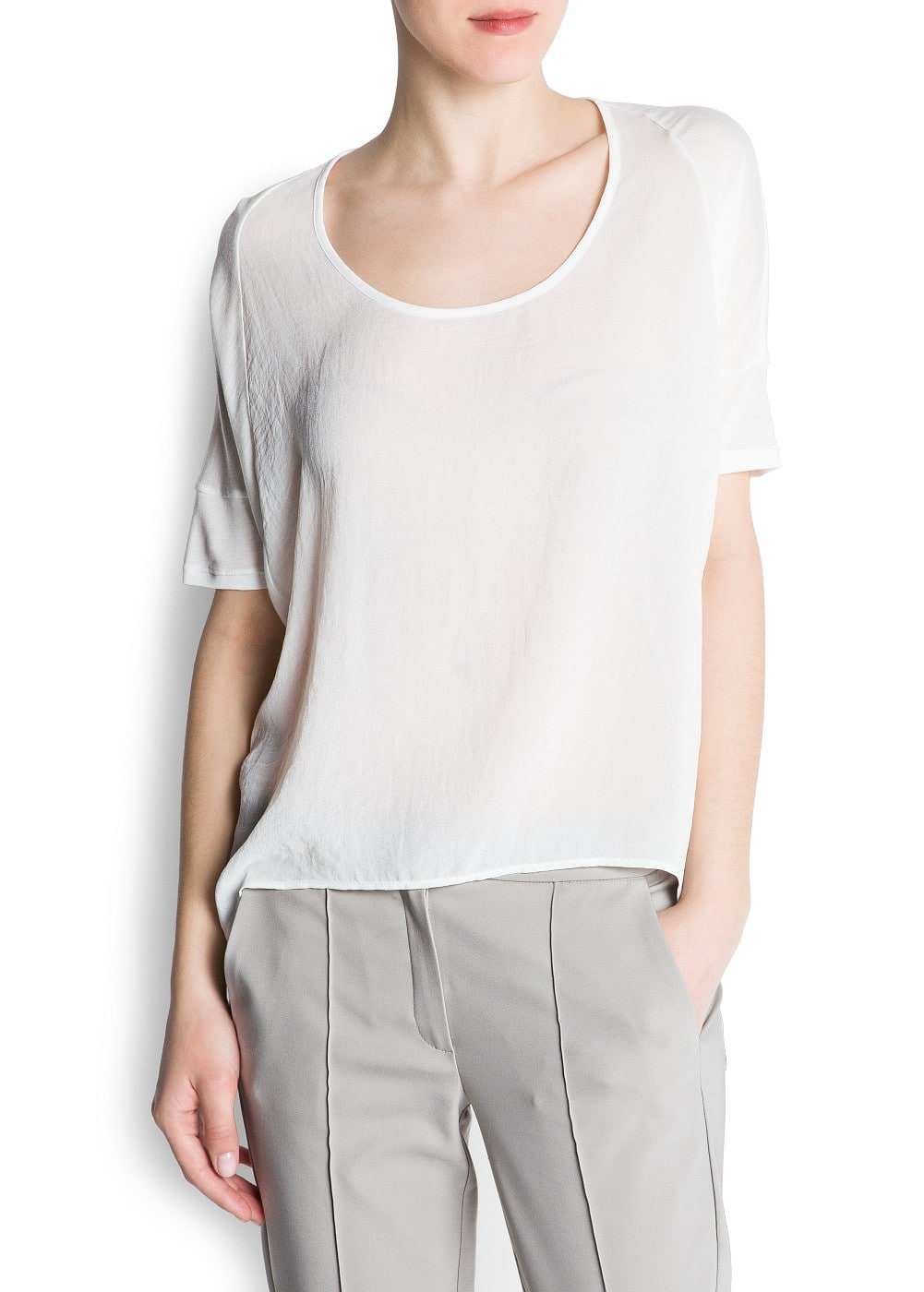 Sheer panel t-shirt | MANGO