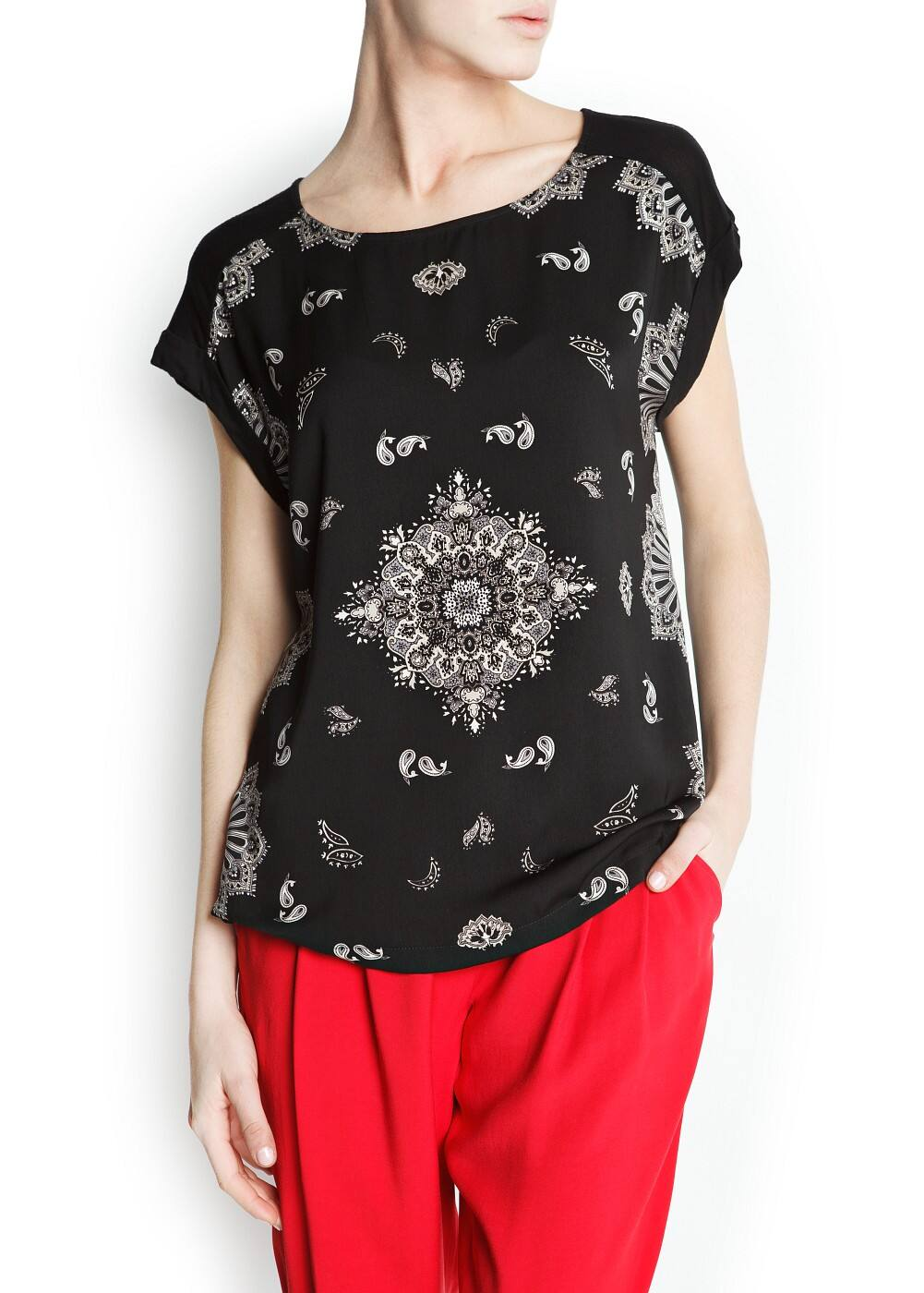 Paisley panel t-shirt | MANGO