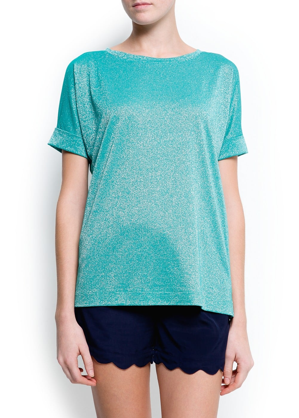 Metallic oversized t-shirt | MANGO
