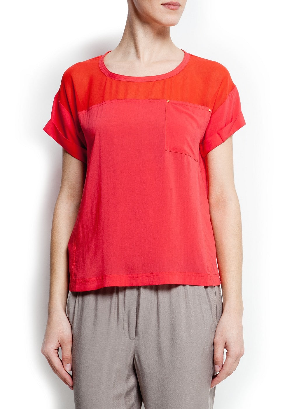 Sheer panel blouse | MANGO