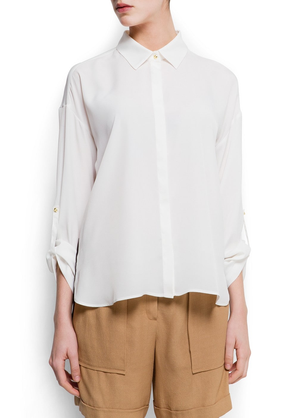 Contrast panel blouse | MANGO