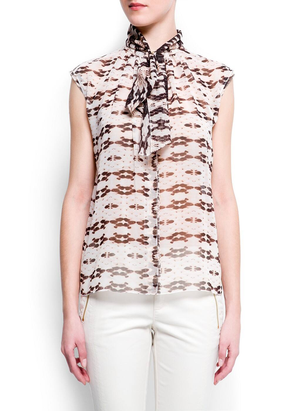 Pussy-bow printed blouse | MANGO