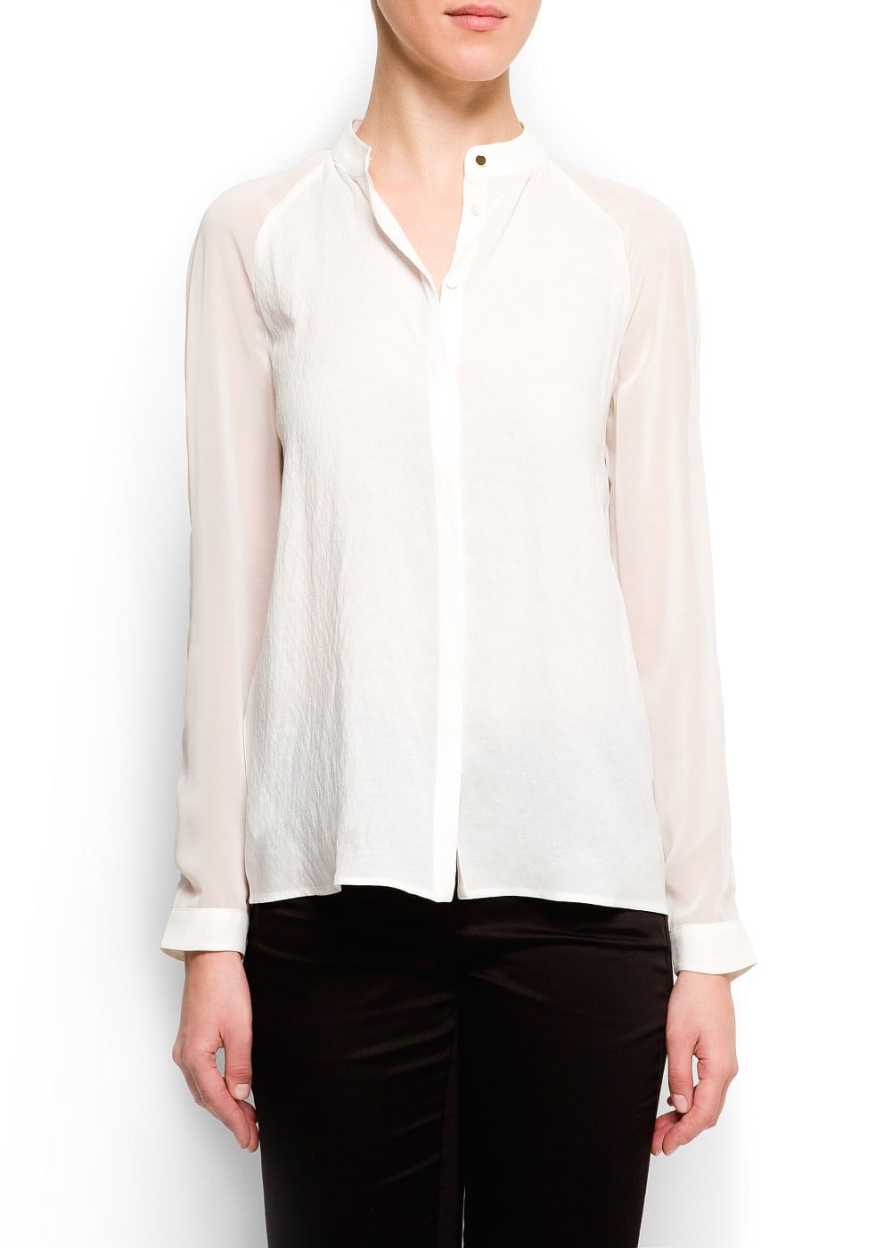 Contrast sleeves blouse | MANGO