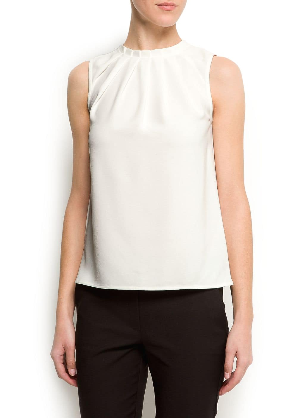 Blouse with pleated neck | MANGO