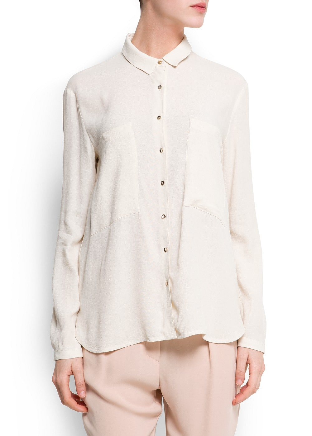 Crepe blouse with pockets | MANGO