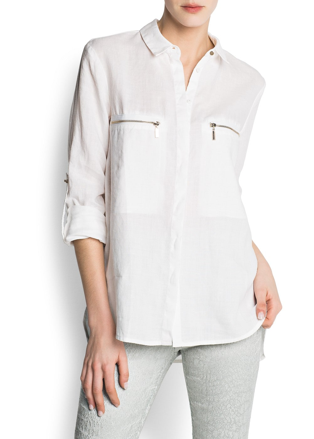 Zipped ramie blouse | MANGO