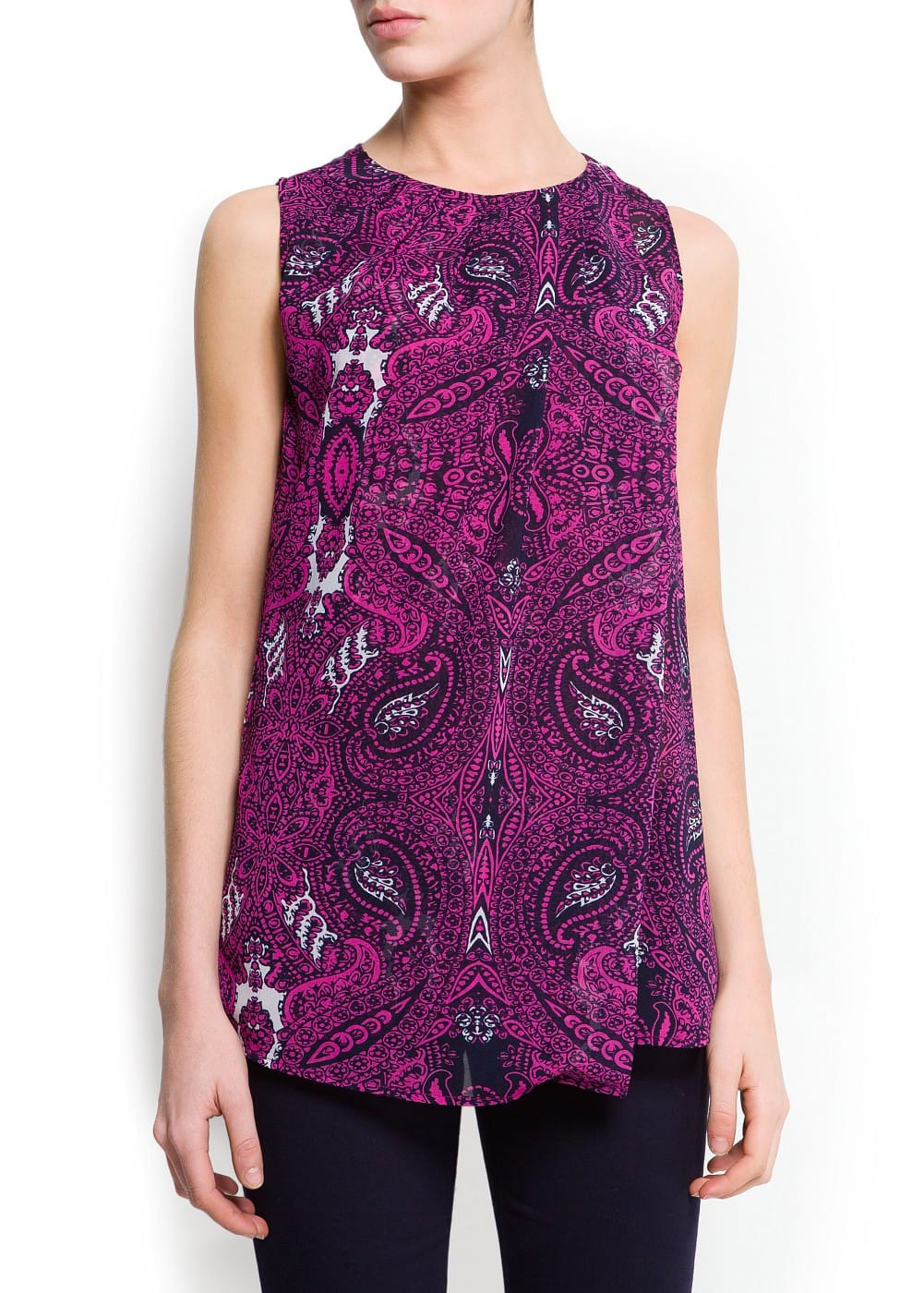 Over layer printed top   MANGO
