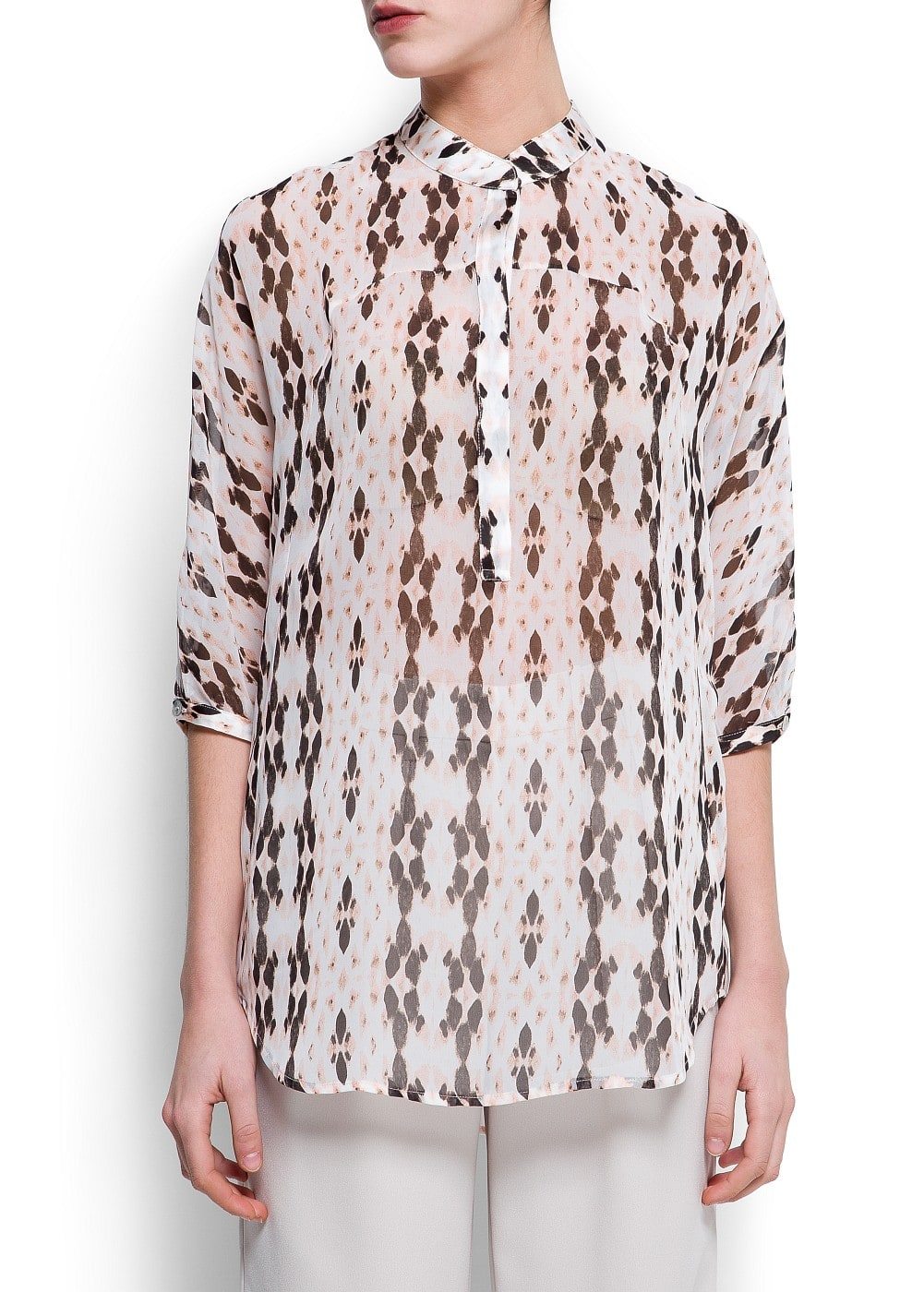 Printed sheer blouse | MANGO