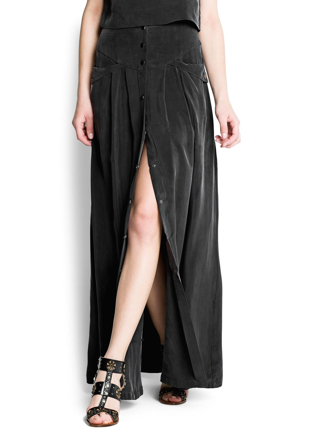 Cupro long skirt | MANGO