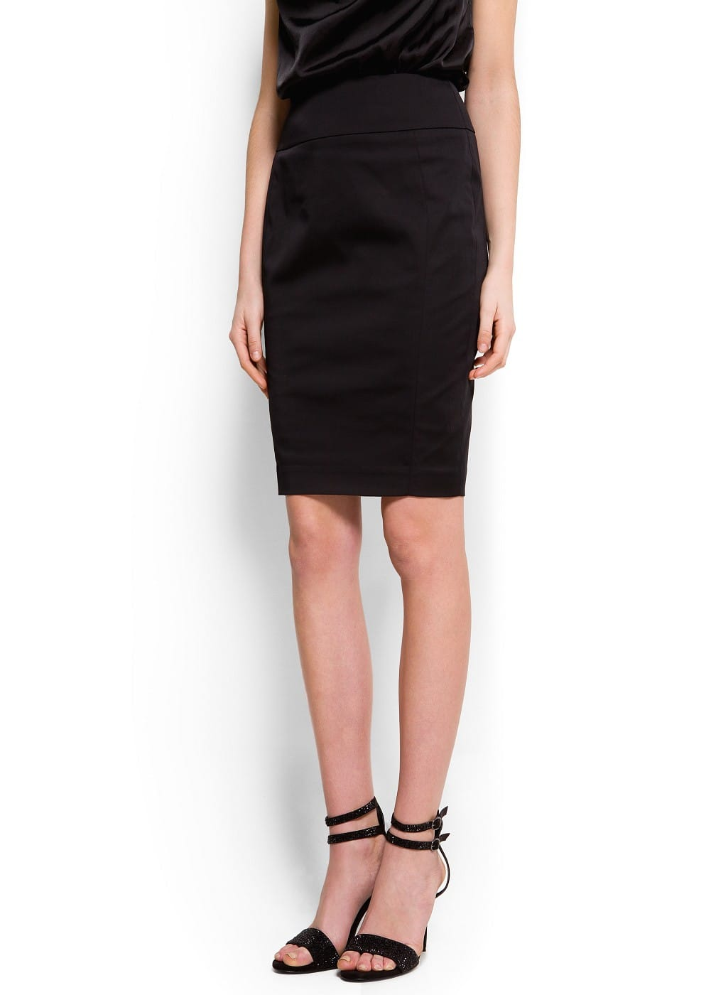 Satin pencil skirt | MANGO