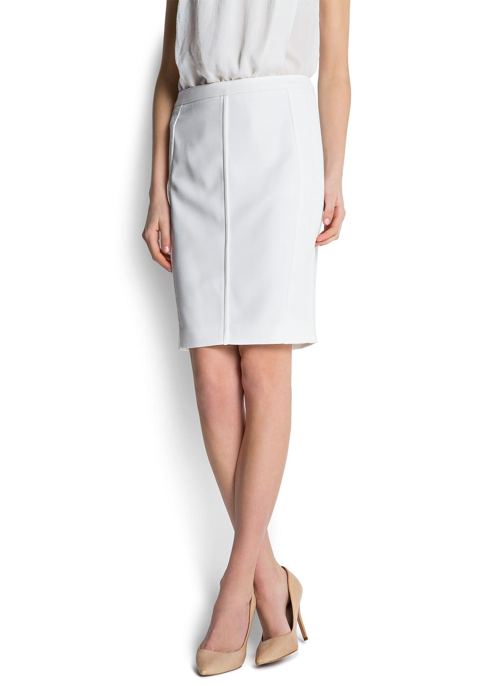 Textured panels skirt | MANGO