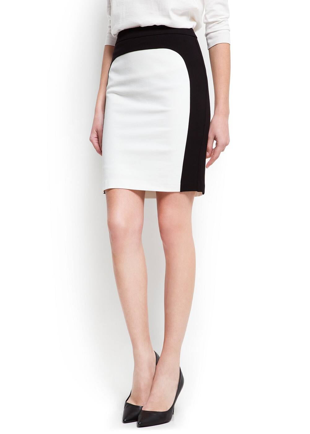 Two-tone pencil skirt | MANGO