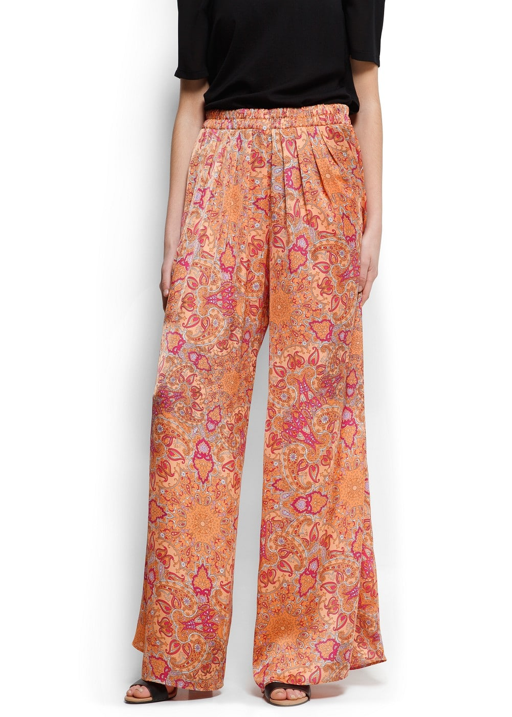 Paisley print wide trousers | MANGO