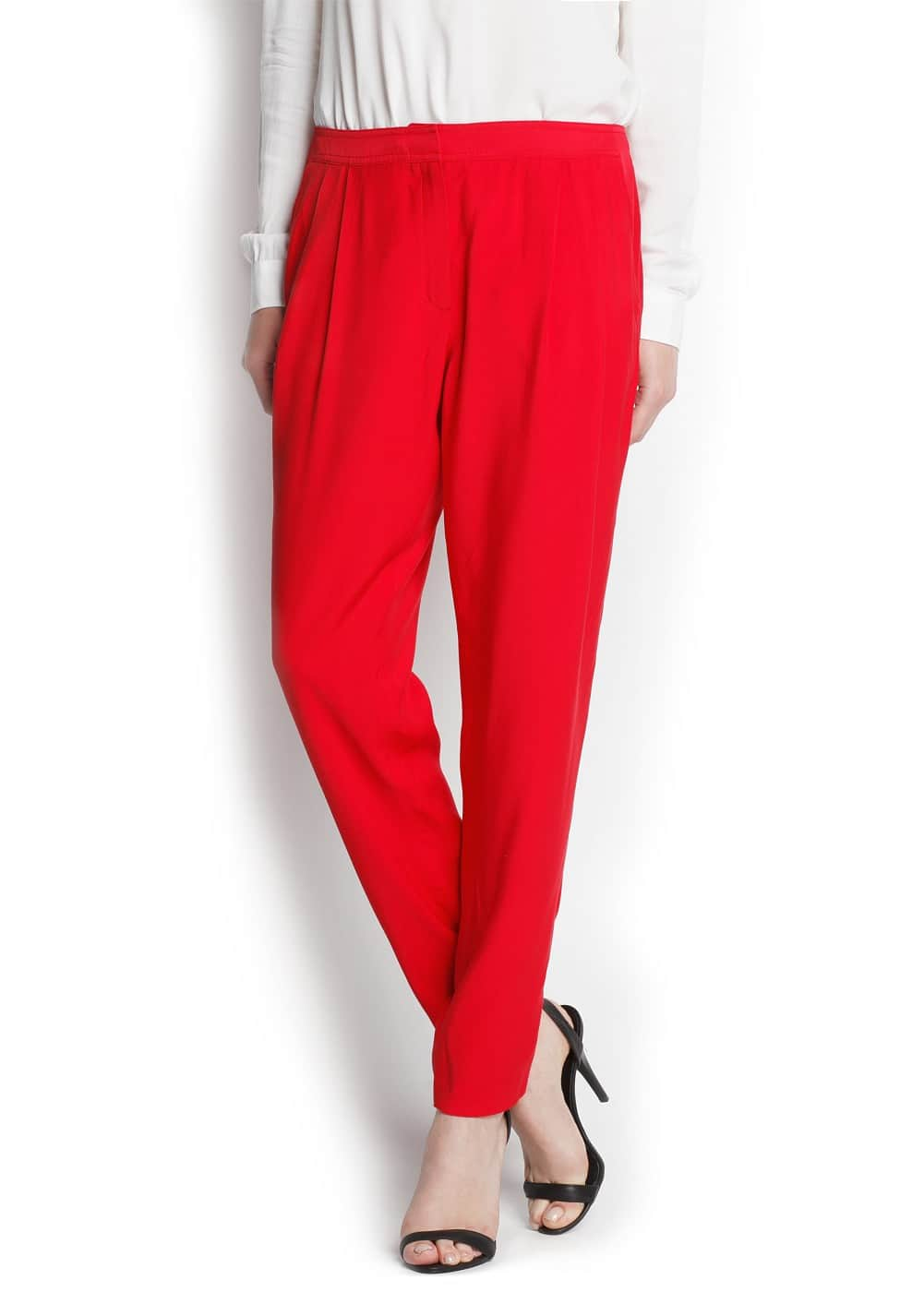Tapered pleated trousers | MANGO