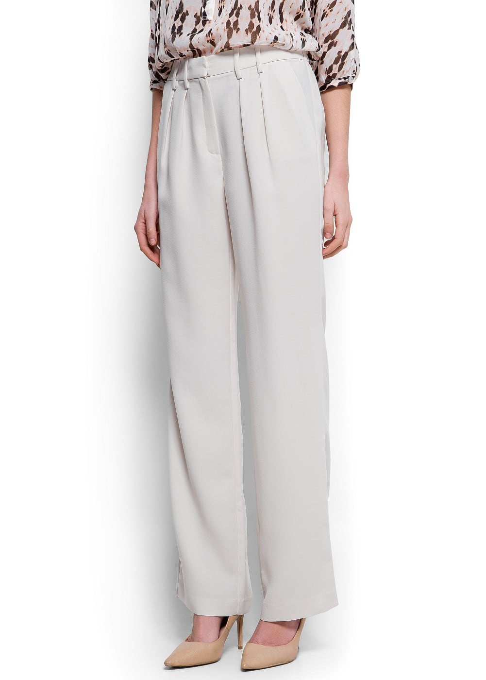 Straight-cut crepé trousers | MANGO